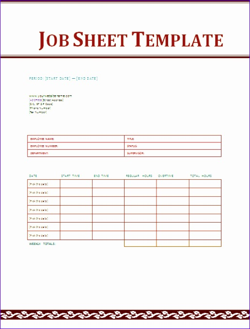 8 Job Sheets Templates Excel - ExcelTemplates - ExcelTemplates