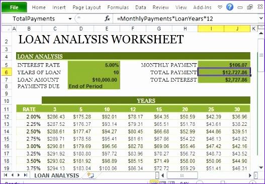 loan repayment calculator excel