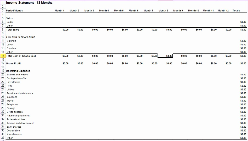 10 Microsoft Excel Income Statement Template - ExcelTemplates