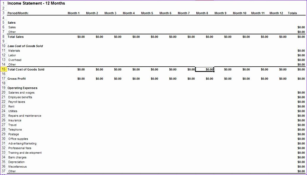 Microsoft Excel Income Statement Template Ucebc Elegant In E