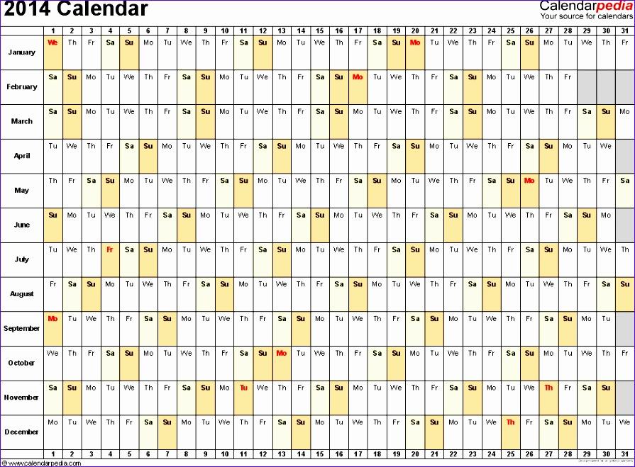 Monthly Calendar Template Excel 2014 Costumepartyrun
