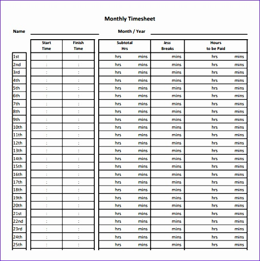 Monthly Timesheet Template Excel Free Download Olvi3 New Time Sheet