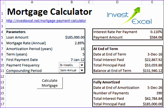 Mortgage Payment Calculator Excel Template Vrger New Mortgage