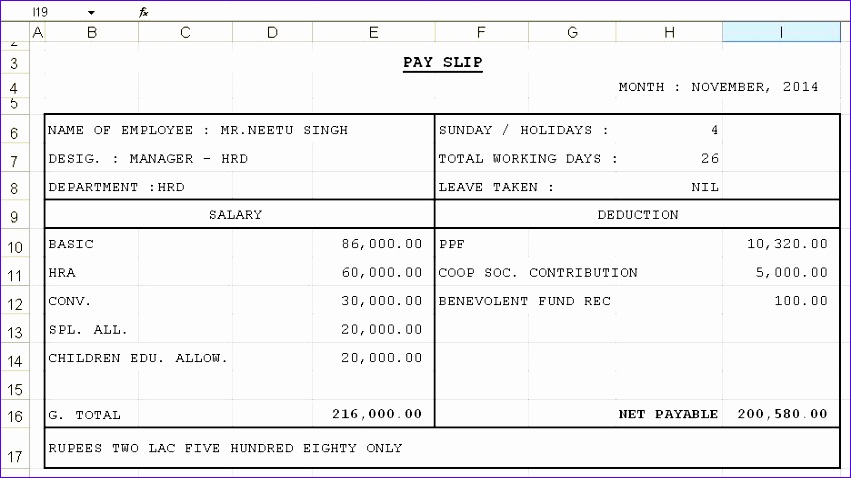Payslip Format in Excel For Company Free Download - mandegarinfo