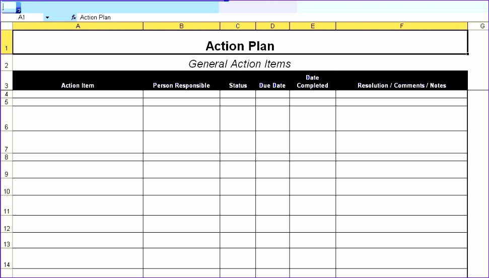 6 Project Action Plan Template Excel - ExcelTemplates - ExcelTemplates