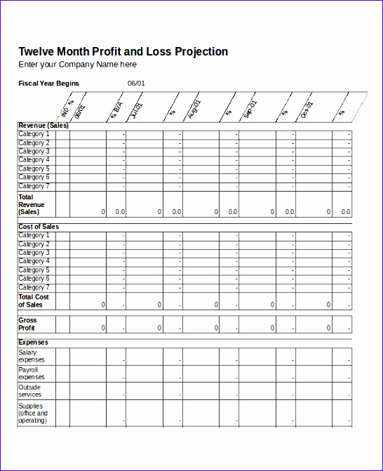 Twelvemonth profit and loss projection excel template - mandegarinfo - project profit and loss template excel