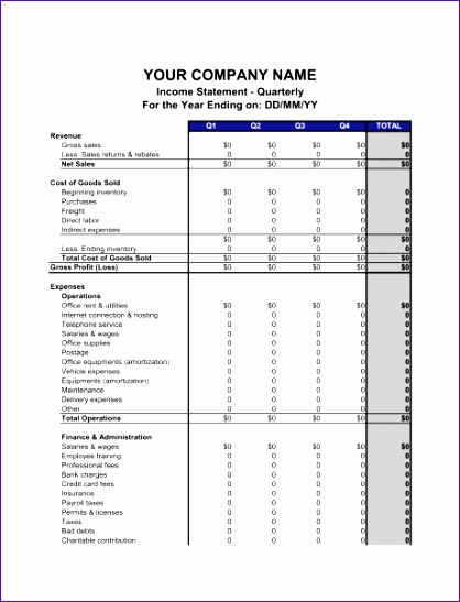 10 Projected Income Statement Template Excel - ExcelTemplates