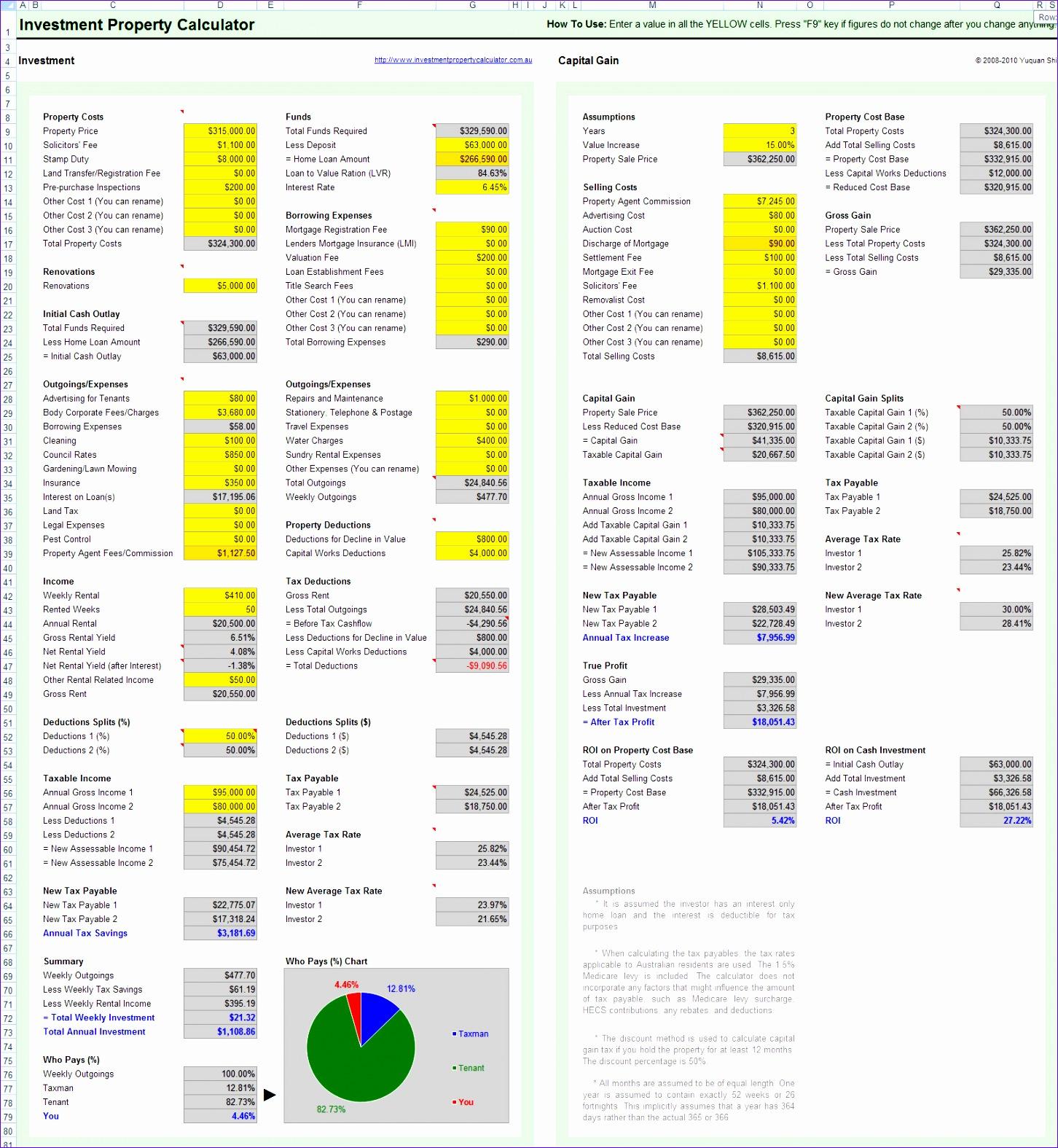 real estate spreadsheet templates