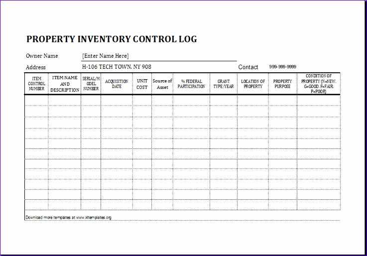 Restaurant Inventory Znsdx Ideas Property Inventory Log Template for