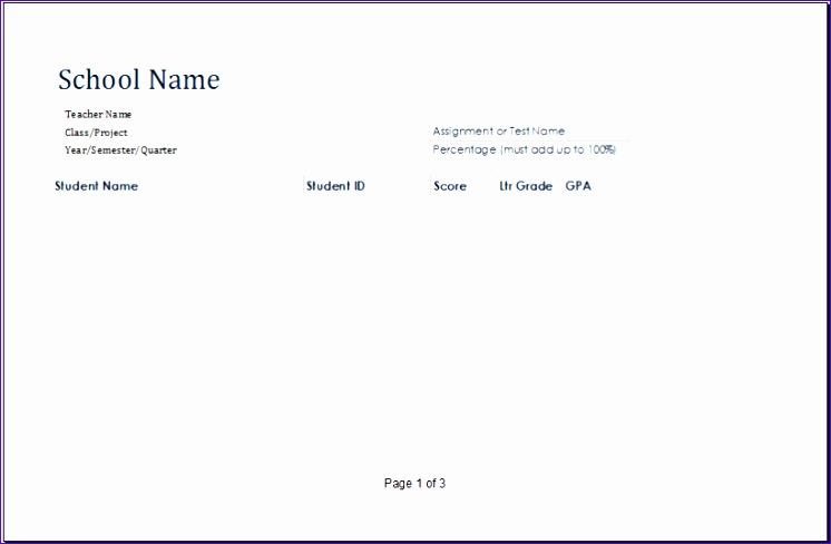 Run Chart Sample 4gktb Best Of Ms Excel Printable Student Grade Book