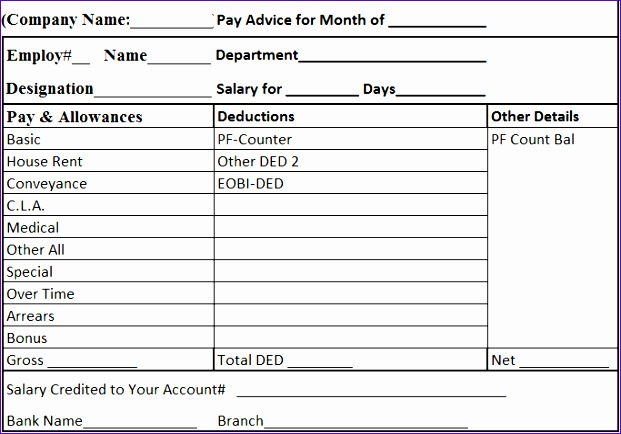 Employee Payslip Template Excel - mandegarinfo