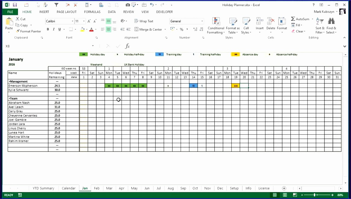11 Staff Holiday Planner Excel Template - ExcelTemplates