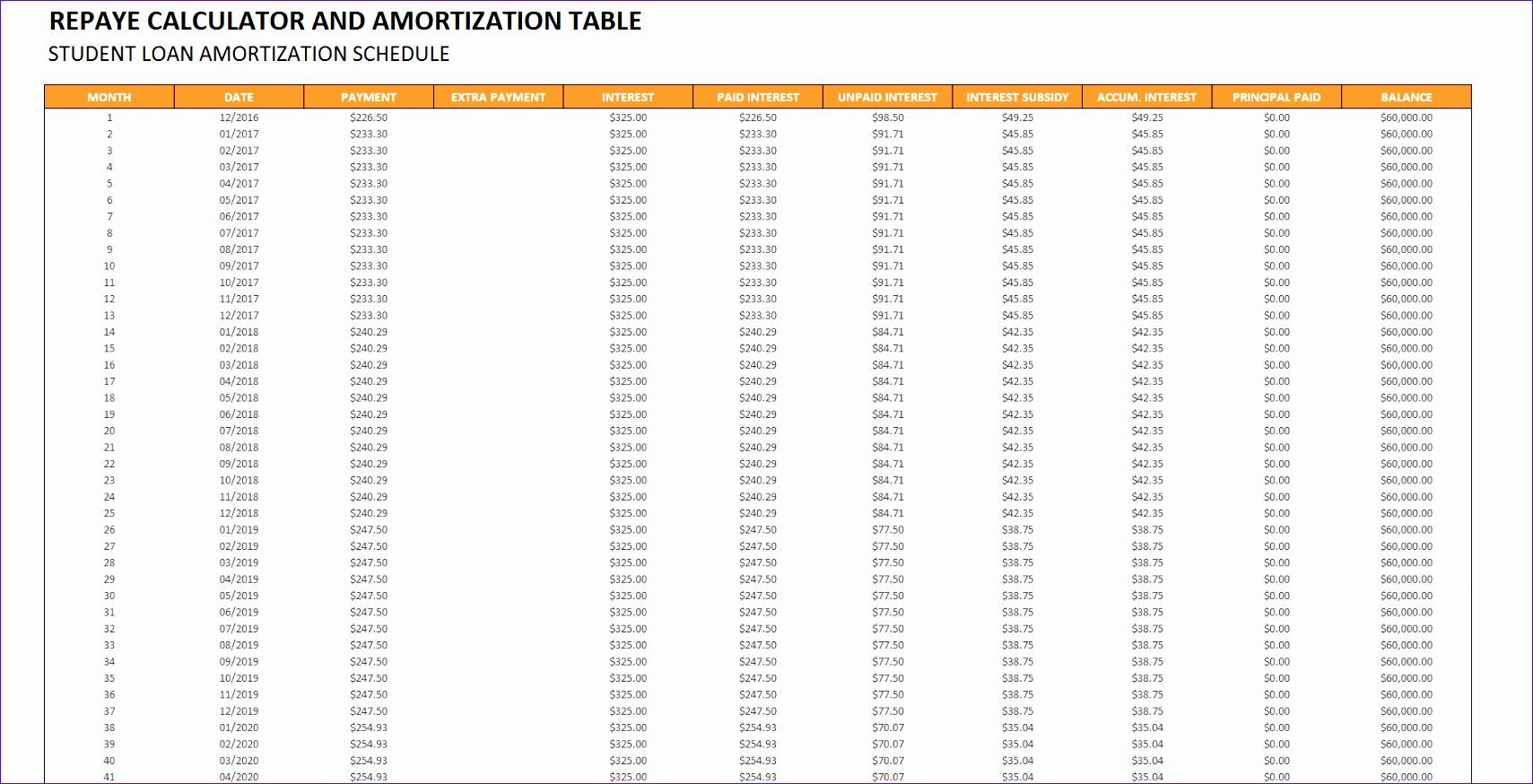 student loan amortization calculator