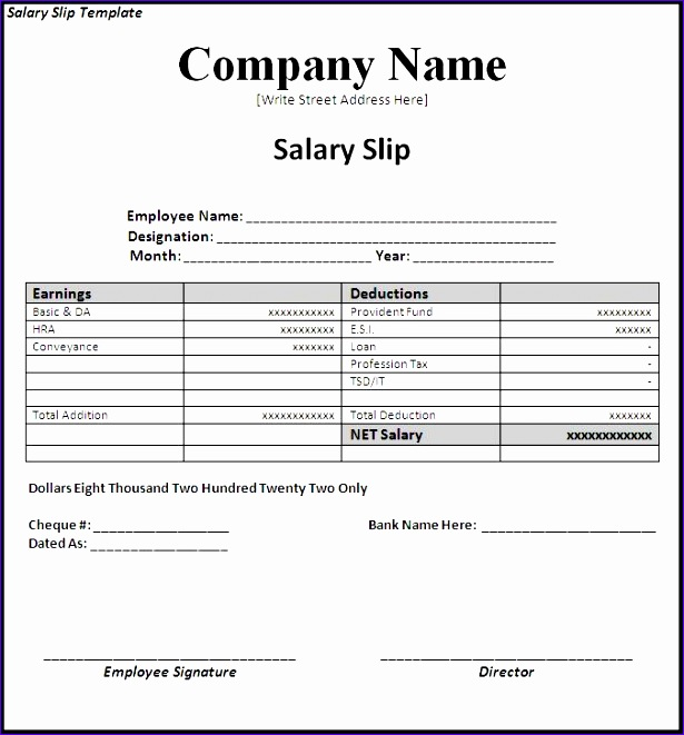 8 Wage Slip Template Excel - ExcelTemplates - ExcelTemplates - wage slip template