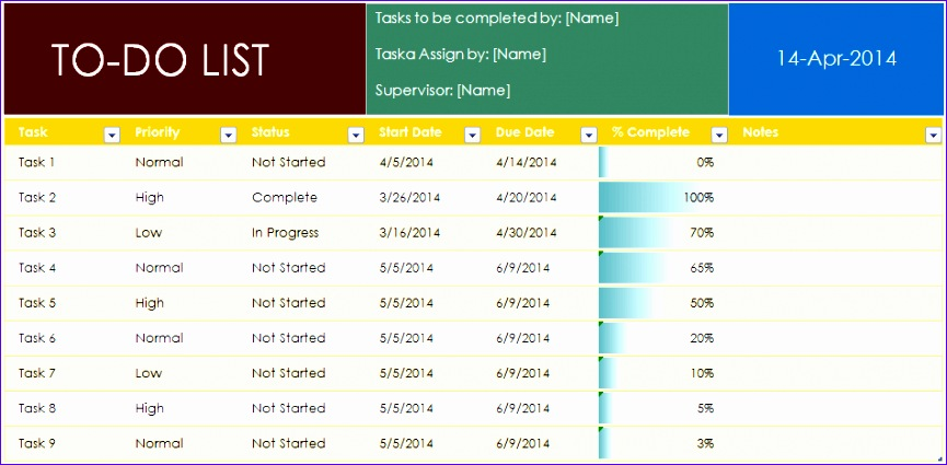 8 Weekly Task List Template Excel - ExcelTemplates - ExcelTemplates