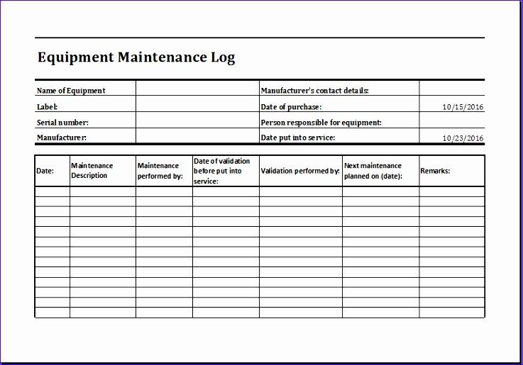 Weekly Time Planner Hwisd New Equipment Maintenance Log Template Ms