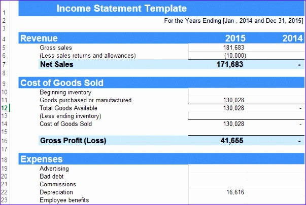 8 Excel Income Statement Template - ExcelTemplates - ExcelTemplates