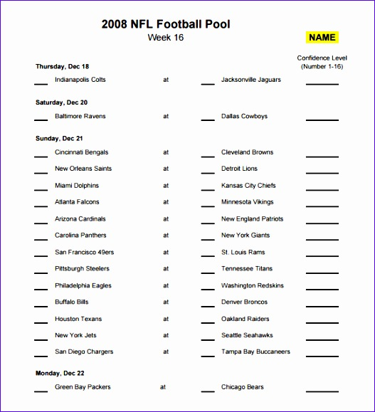 Nfl Football Pool Template Images - Template Design Ideas
