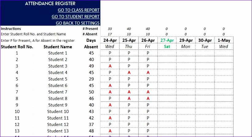 school attendance sheet pdf