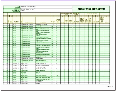 submittal register template - Intoanysearch