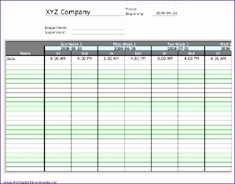 11 Bi Weekly Timesheet Template Excel Exceltemplates
