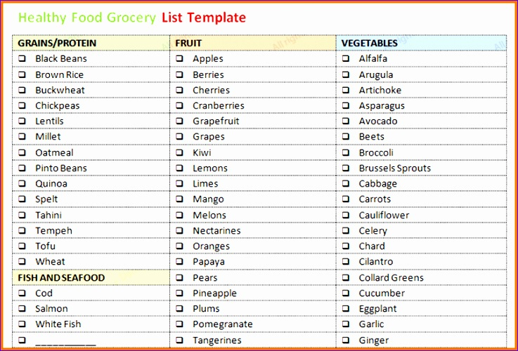 Calendar Template In Excel Tgcks Beautiful Grocery List Template - grocery list word