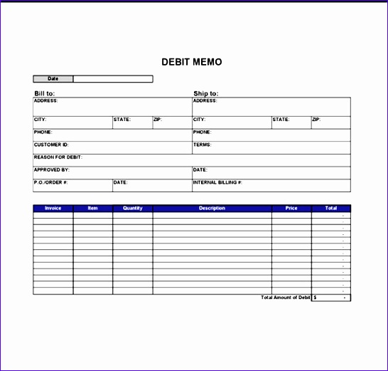 Credit Memo Template Credit Memo Template Medium Size Credit Memo - debit memo template