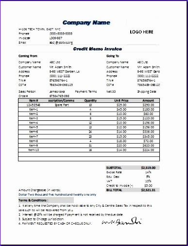 Credit Memo Excel Template amp Sample Form Biztreecom - mandegarinfo