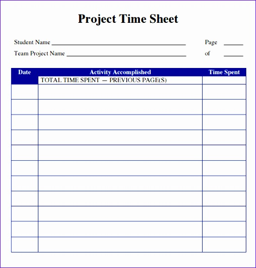 Sample Project Timesheet - Design Templates