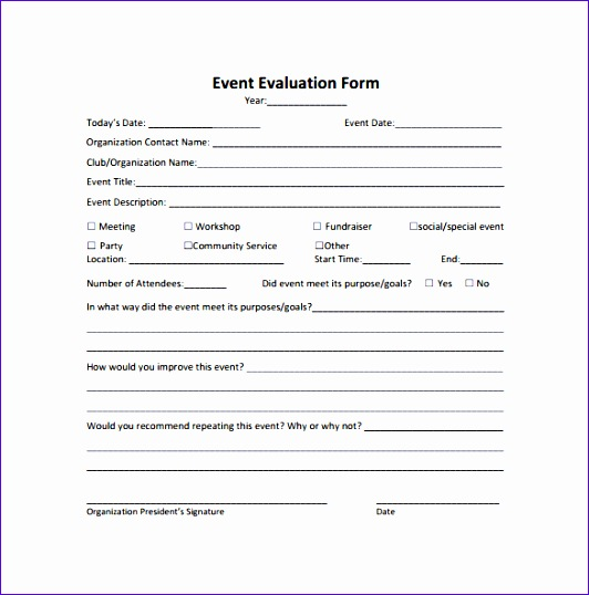 event evaluation form template - Timiznceptzmusic - Meeting Evaluation Form