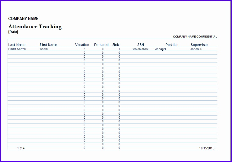 6 Tracking Excel Template - ExcelTemplates - ExcelTemplates - sample attendance tracking