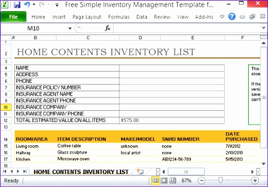 10 Excel Home Inventory Template - ExcelTemplates - ExcelTemplates