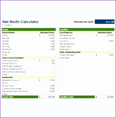 8 Excel Net Worth Template - ExcelTemplates - ExcelTemplates