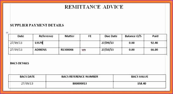 Remittance Advice Template Remittance Advice Template For Ms Excel - pay advice template