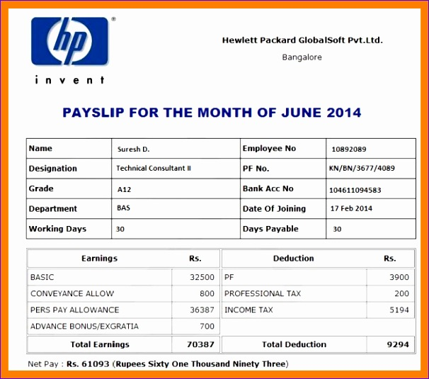 Excel Payslip Template Ueoah Beautiful 7 Salary Slip format In India