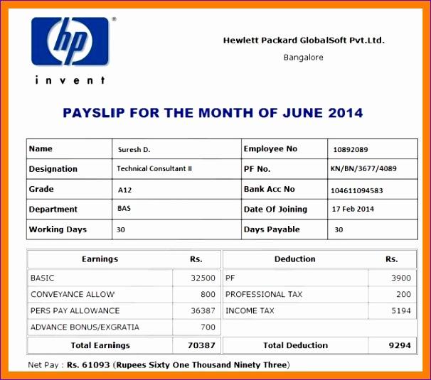 payslip format india - Maggilocustdesign