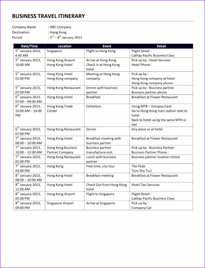 12 Excel Travel Itinerary Template - ExcelTemplates - ExcelTemplates