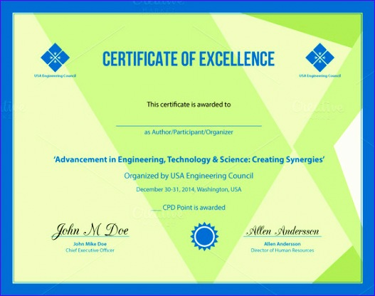 11 Excellence Award Certificate Template - ExcelTemplates