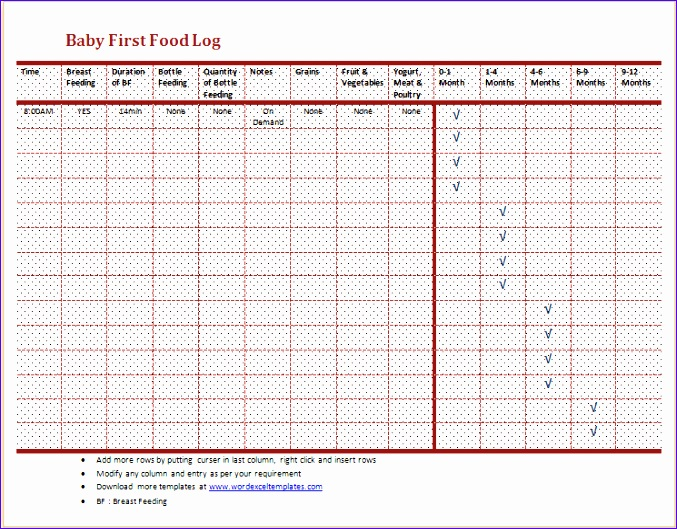 Food Diary Template Download Oakandale
