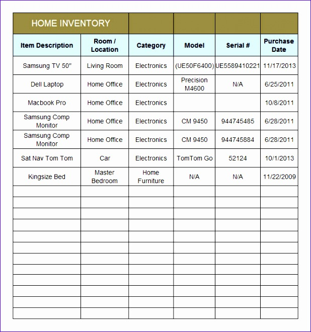 Free Home Inventory Checklist Inventory Control Templates Excel