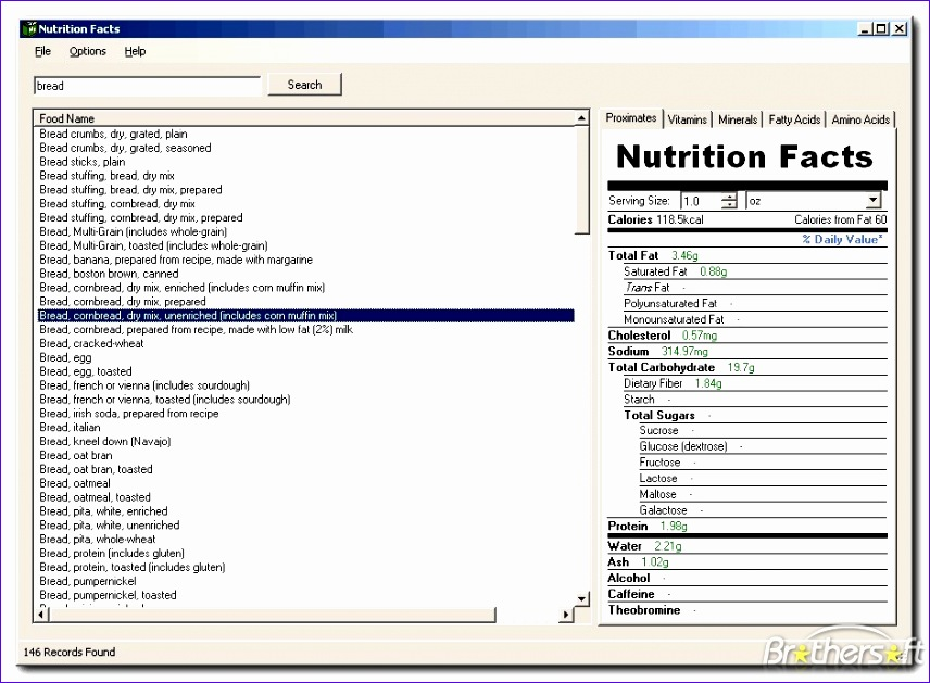 nutrition label template excel