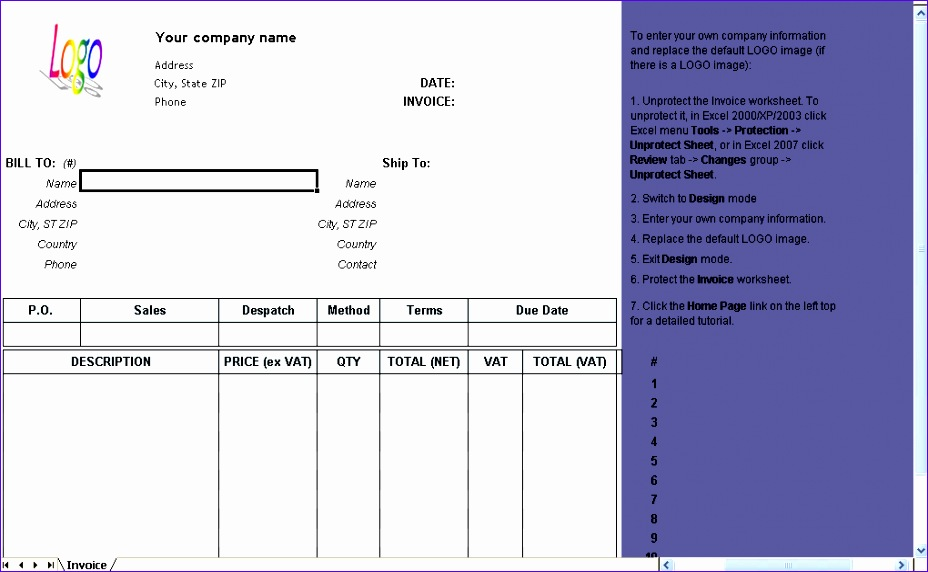 6 Microsoft Excel Invoice Template Free - ExcelTemplates - free excel invoice software