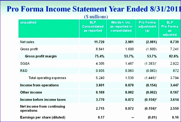 8 Pro forma Income Statement Excel Template - ExcelTemplates