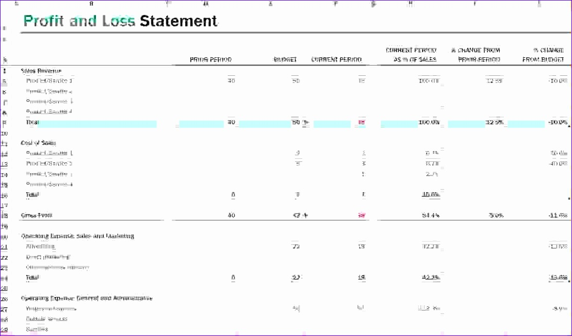 Profit Loss Excel Template Ncbix Beautiful Profit and Loss Statement - Profit And Loss Template Word