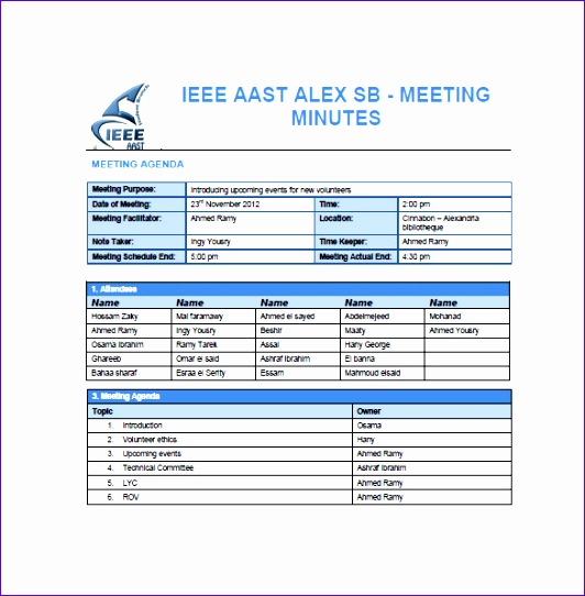 5 Project Meeting Minutes Template Excel - ExcelTemplates