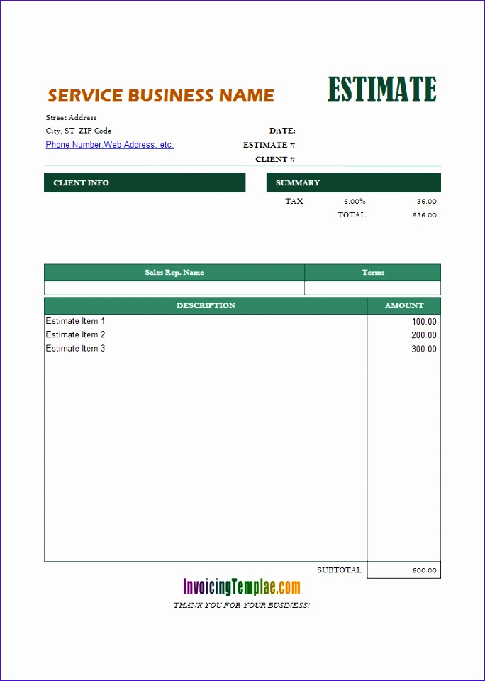 6 Quotation Template Excel - ExcelTemplates - ExcelTemplates
