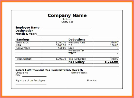 Salary Payslip Template Excel Rezcv Best Of 8 Salary Slip Sample Pdf