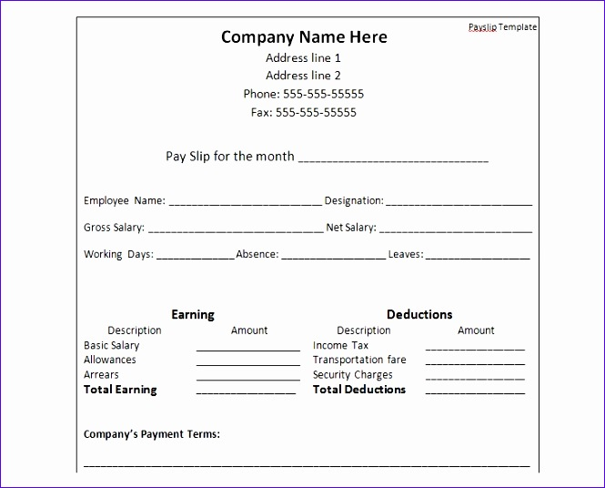 Salary Slip Excel Template N4oae Elegant Payslip Template format