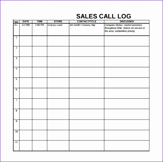 14 Sales Call Log Template Excel - ExcelTemplates - ExcelTemplates - contact log template