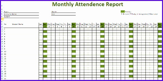 8 Excel attendance Template - ExcelTemplates - ExcelTemplates - sample attendance tracking